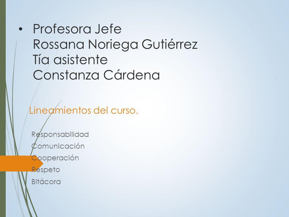 Profesora Jefe Rossana Noriega Gutiérrez Tía asistente Constanza Cárdena