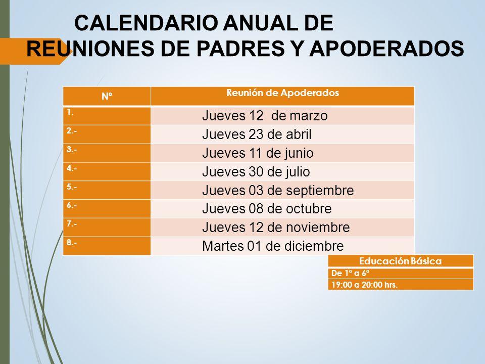 CALENDARIO ANUAL DE REUNIONES DE PADRES Y APODERADOS