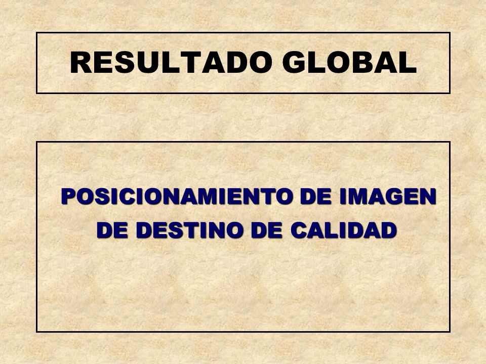 RESULTADO GLOBAL POSICIONAMIENTO DE IMAGEN DE DESTINO DE CALIDAD