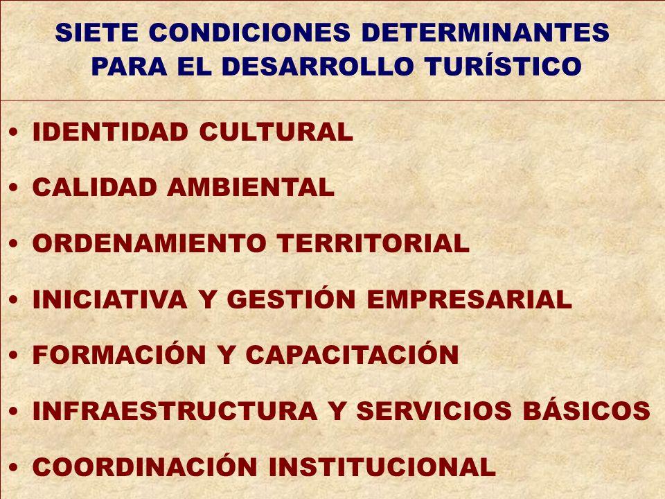 SIETE CONDICIONES DETERMINANTES PARA EL DESARROLLO TURÍSTICO