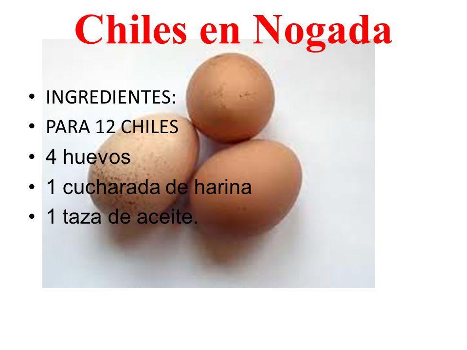 Chiles en Nogada INGREDIENTES: PARA 12 CHILES 4 huevos