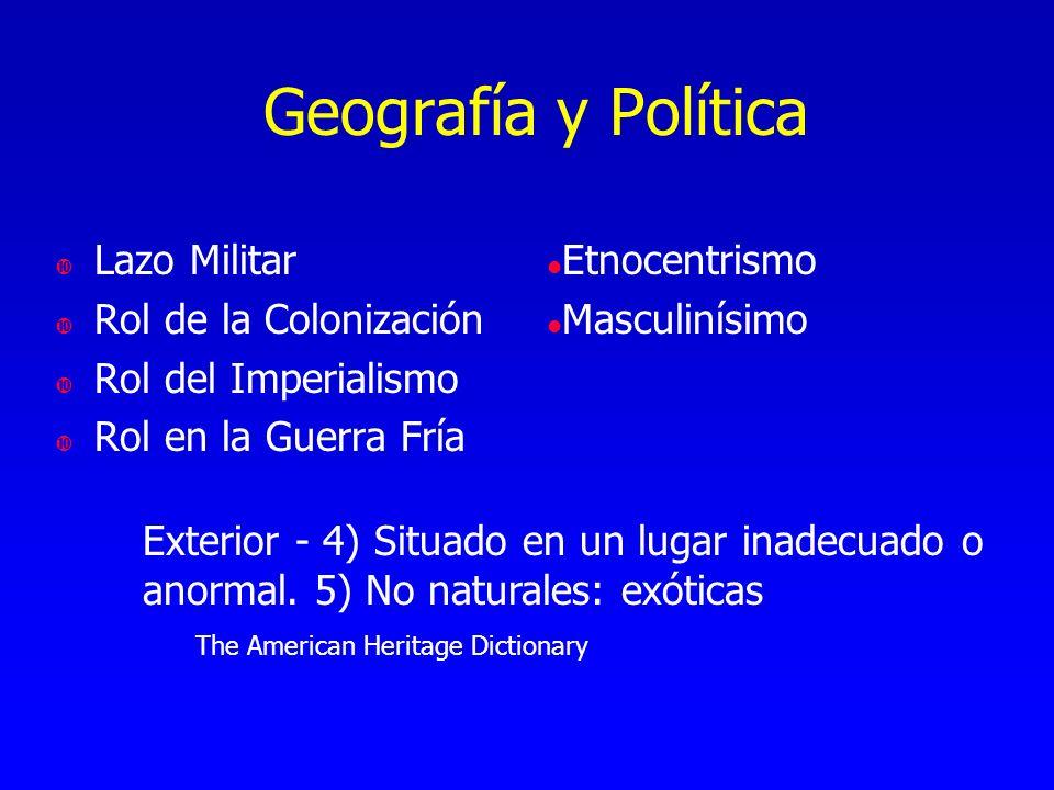 Geografía y Política Lazo Militar Rol de la Colonización