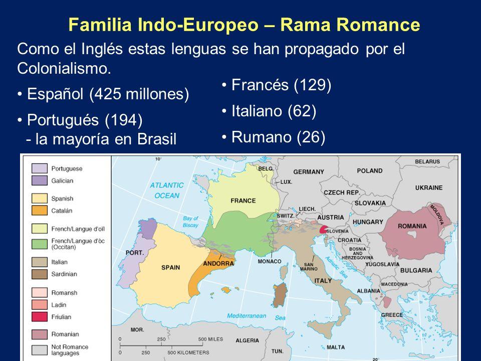 Familia Indo-Europeo – Rama Romance