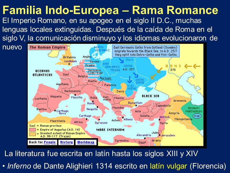Familia Indo-Europea – Rama Romance