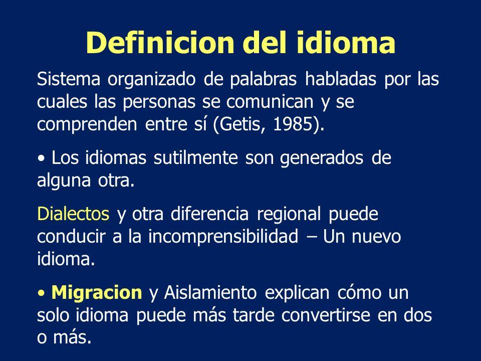 Definicion del idioma Sistema organizado de palabras habladas por las cuales las personas se comunican y se comprenden entre sí (Getis, 1985).