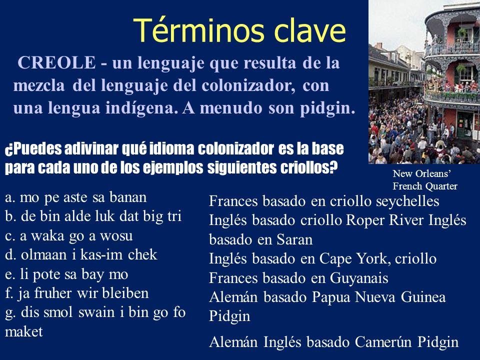 Términos clave CREOLE - un lenguaje que resulta de la mezcla del lenguaje del colonizador, con una lengua indígena. A menudo son pidgin.