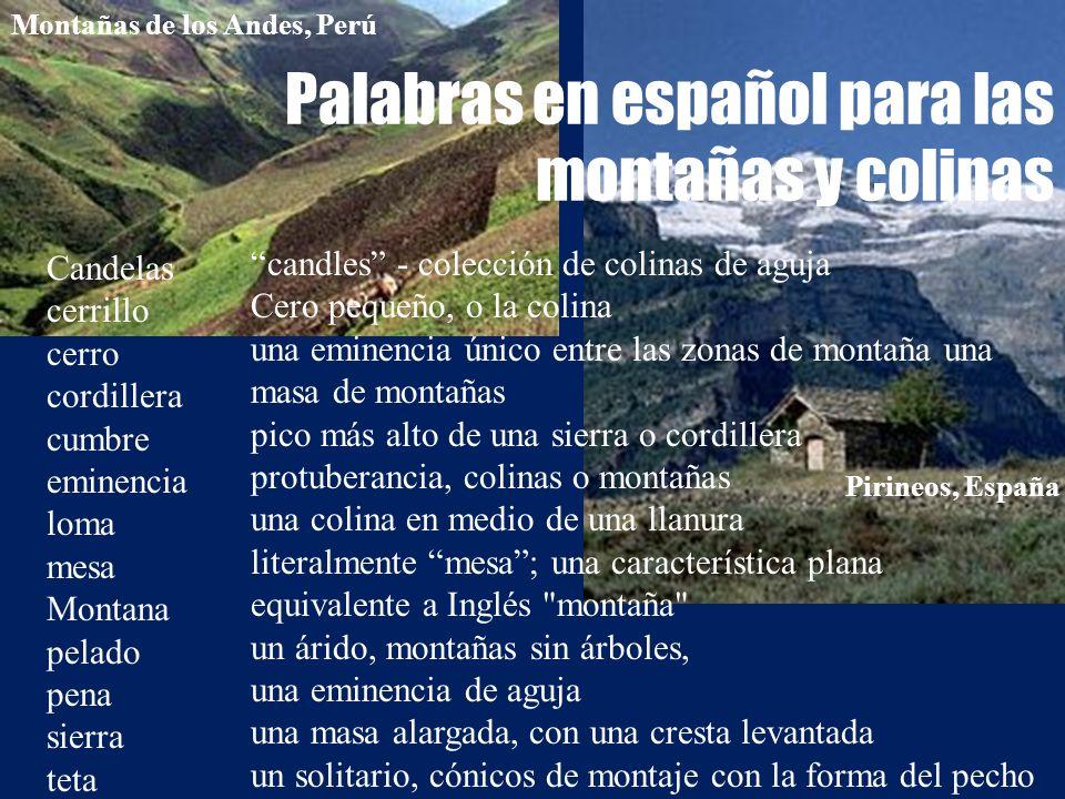 Palabras en español para las montañas y colinas