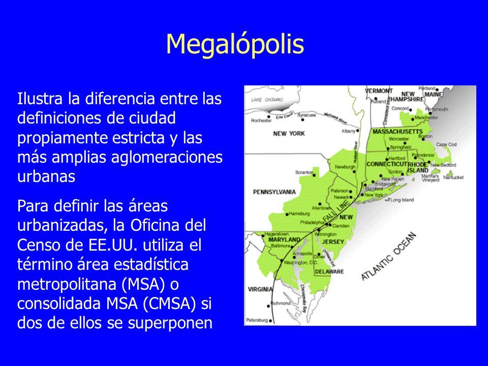 Megalópolis Ilustra la diferencia entre las definiciones de ciudad propiamente estricta y las más amplias aglomeraciones urbanas.