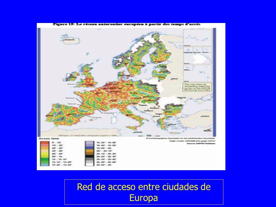 Red de acceso entre ciudades de Europa