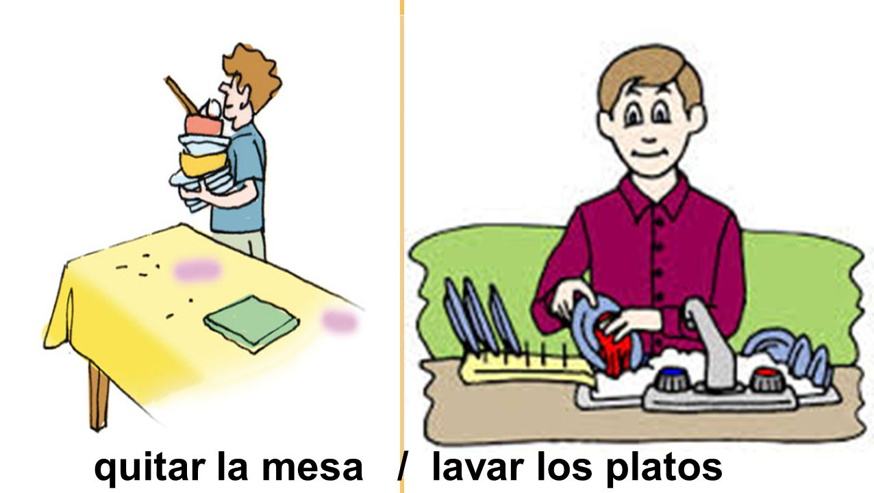 quitar la mesa / lavar los platos