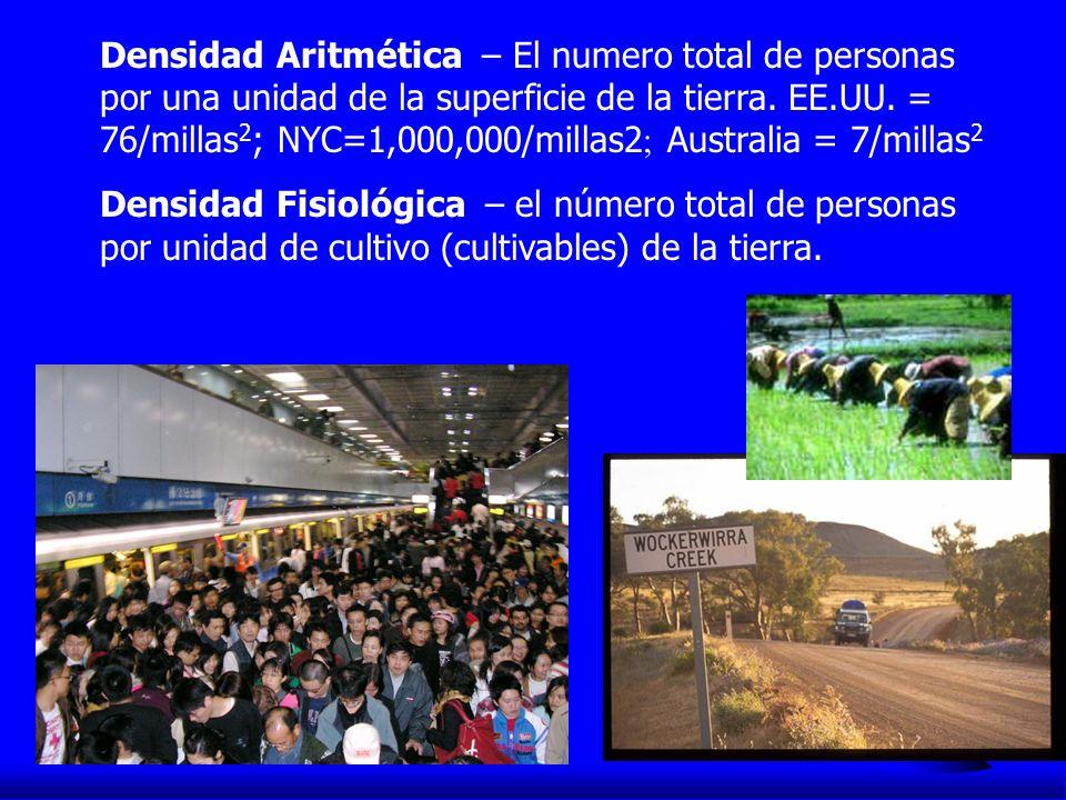 Densidad Aritmética – El numero total de personas por una unidad de la superficie de la tierra. EE.UU. = 76/millas2; NYC=1,000,000/millas2; Australia = 7/millas2