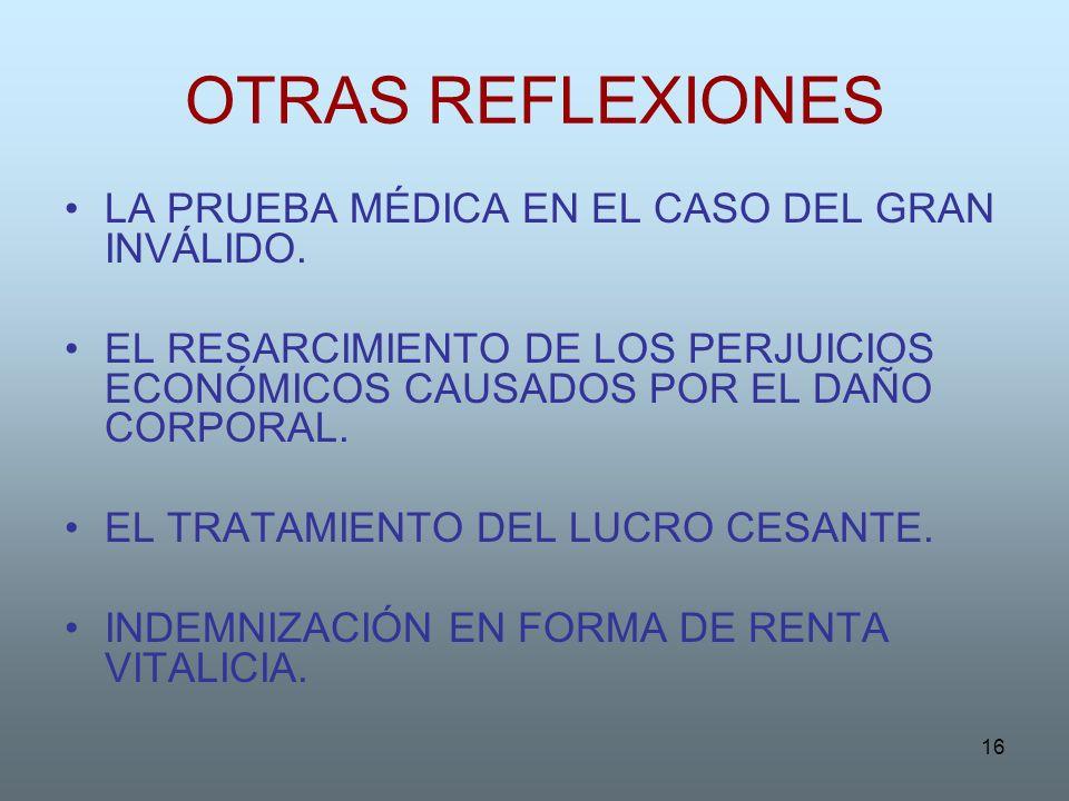 OTRAS REFLEXIONES LA PRUEBA MÉDICA EN EL CASO DEL GRAN INVÁLIDO.
