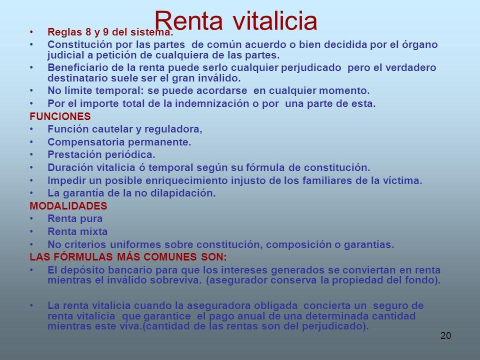 Renta vitalicia Reglas 8 y 9 del sistema.