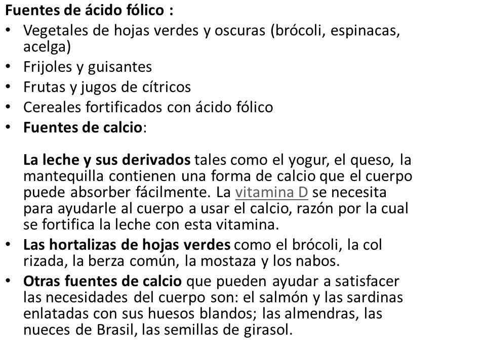 Fuentes de ácido fólico :