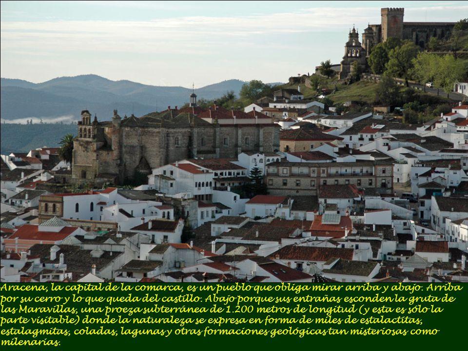 Aracena, la capital de la comarca, es un pueblo que obliga mirar arriba y abajo.
