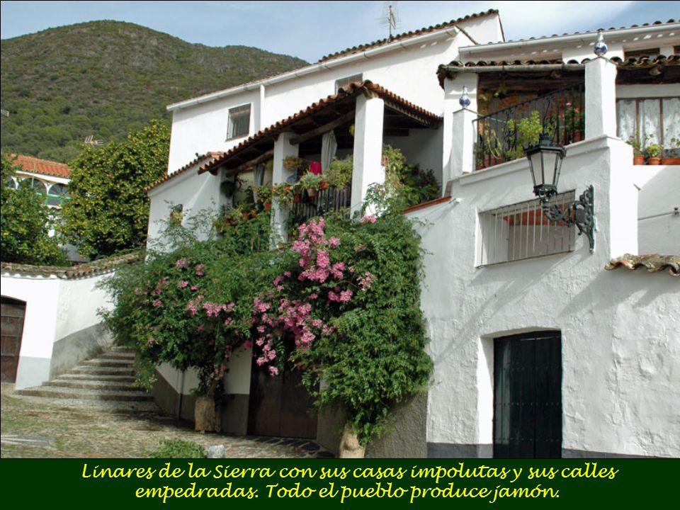 Linares de la Sierra con sus casas impolutas y sus calles empedradas