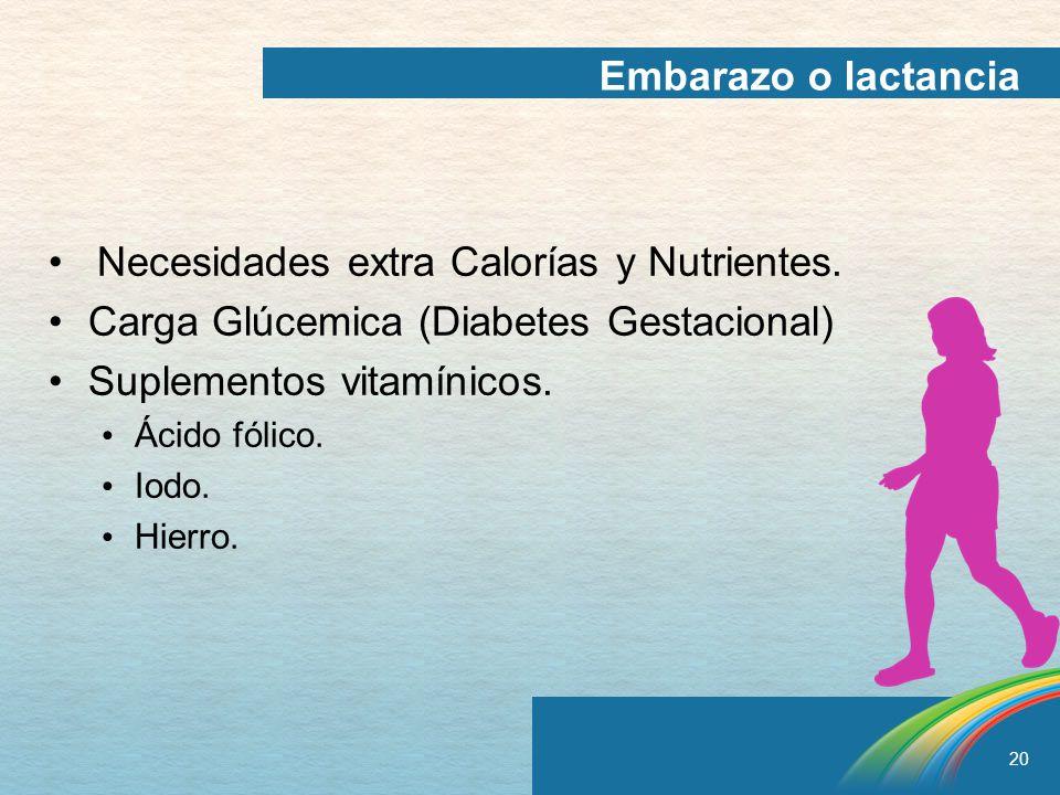 • Necesidades extra Calorías y Nutrientes.