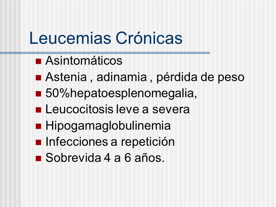 Leucemias Crónicas Asintomáticos Astenia , adinamia , pérdida de peso