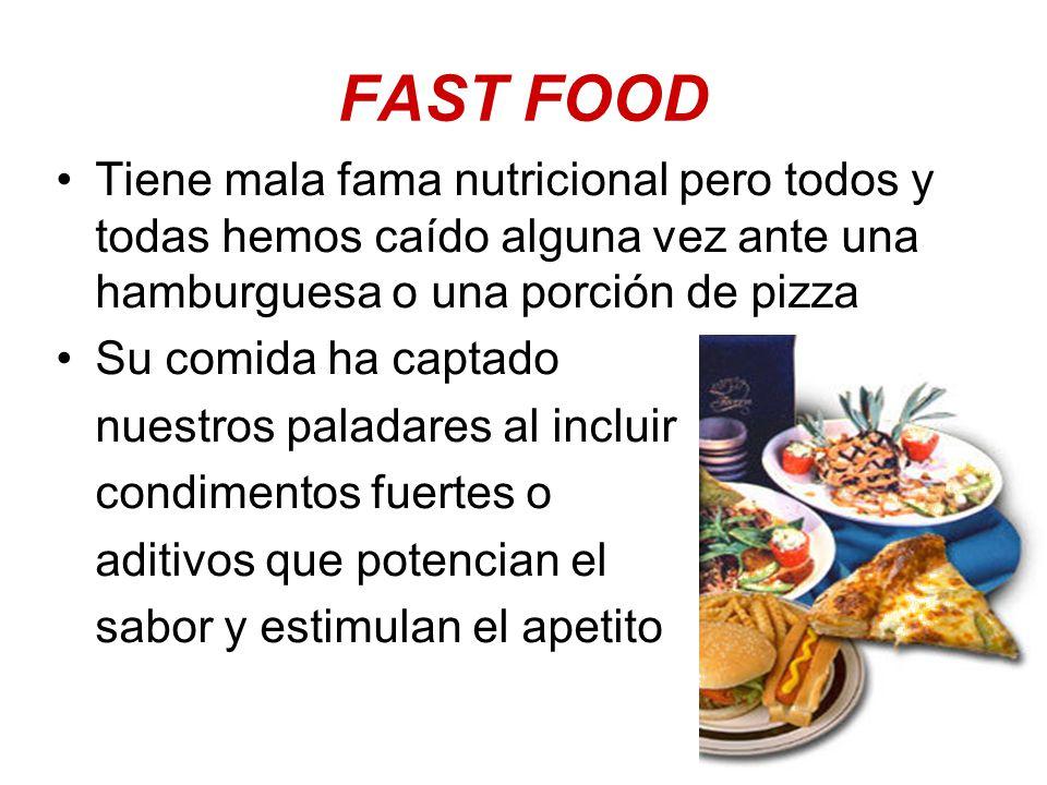 FAST FOOD Tiene mala fama nutricional pero todos y todas hemos caído alguna vez ante una hamburguesa o una porción de pizza.