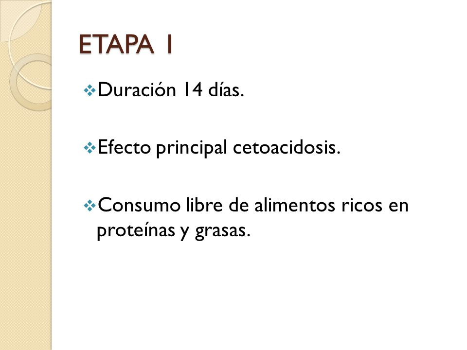 ETAPA 1 Duración 14 días. Efecto principal cetoacidosis.