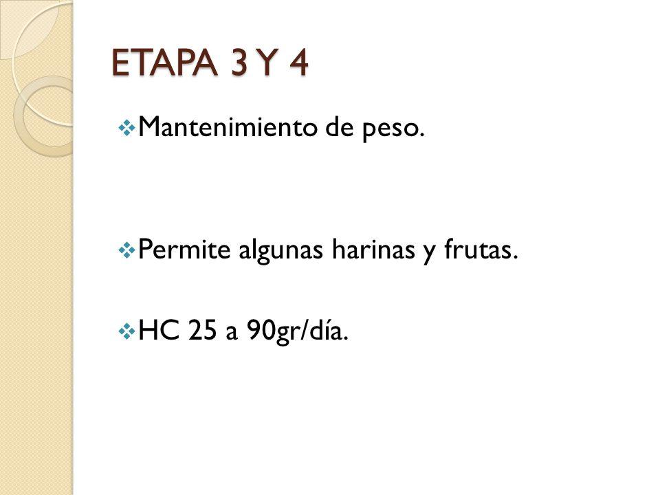 ETAPA 3 Y 4 Mantenimiento de peso. Permite algunas harinas y frutas.