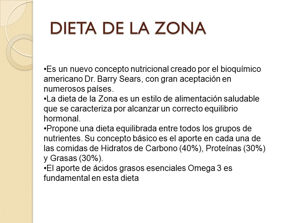 DIETA DE LA ZONA •Es un nuevo concepto nutricional creado por el bioquímico americano Dr. Barry Sears, con gran aceptación en numerosos países.