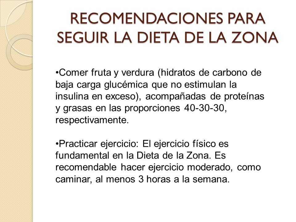 RECOMENDACIONES PARA SEGUIR LA DIETA DE LA ZONA