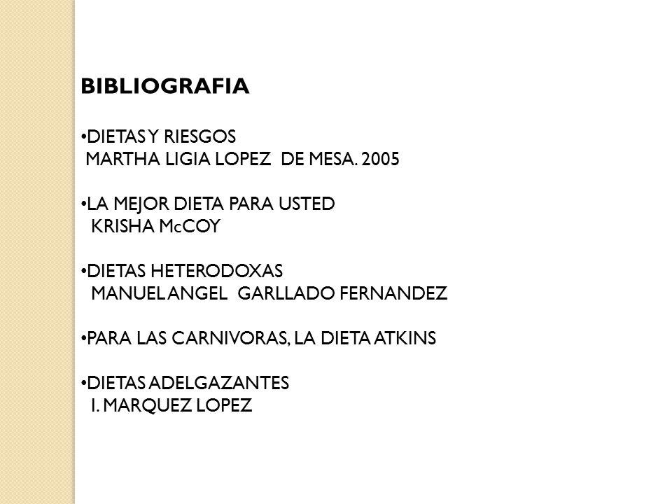 BIBLIOGRAFIA DIETAS Y RIESGOS MARTHA LIGIA LOPEZ DE MESA. 2005