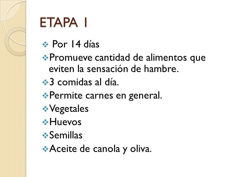 ETAPA 1 Por 14 días. Promueve cantidad de alimentos que eviten la sensación de hambre. 3 comidas al día.