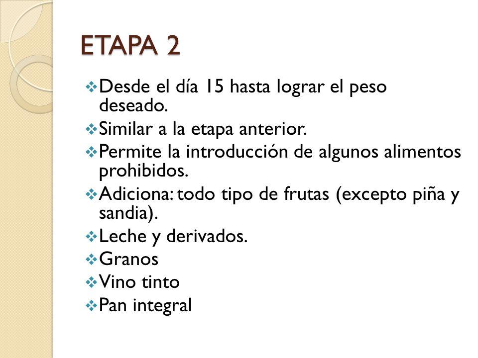 ETAPA 2 Desde el día 15 hasta lograr el peso deseado.