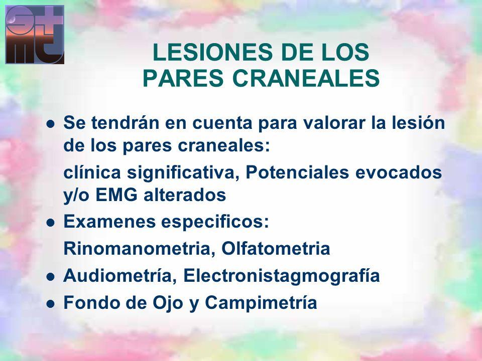 LESIONES DE LOS PARES CRANEALES