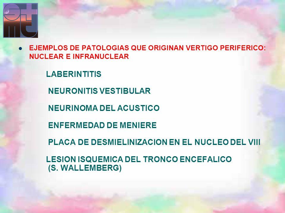 EJEMPLOS DE PATOLOGIAS QUE ORIGINAN VERTIGO PERIFERICO: NUCLEAR E INFRANUCLEAR