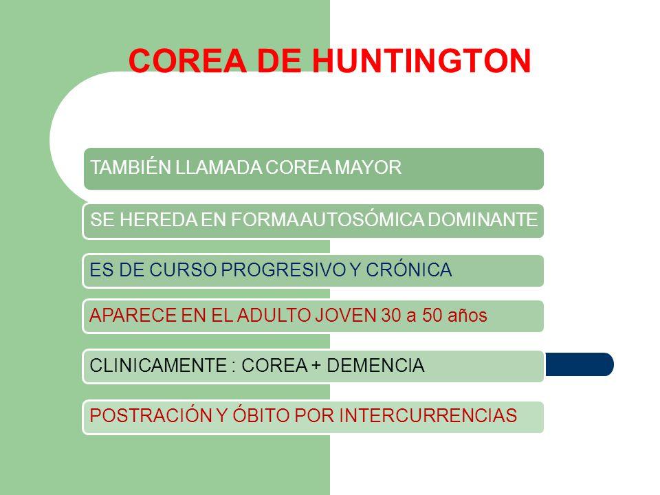 COREA DE HUNTINGTON TAMBIÉN LLAMADA COREA MAYOR