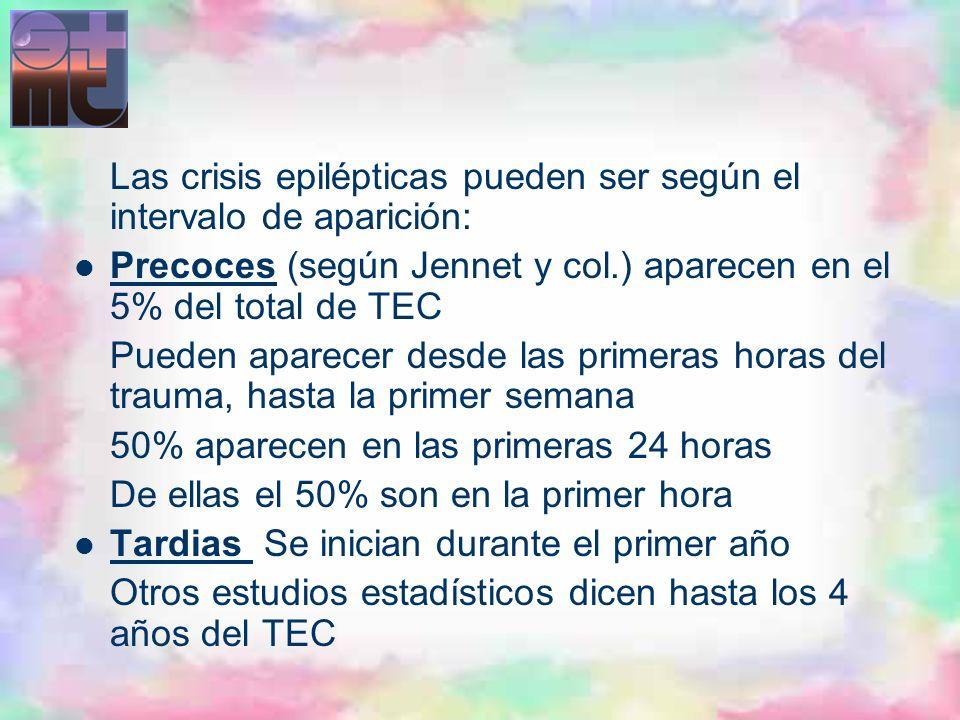 Las crisis epilépticas pueden ser según el intervalo de aparición: