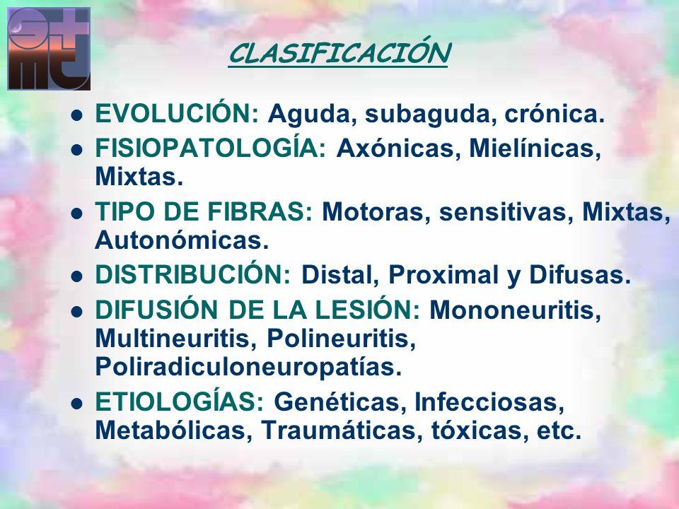 CLASIFICACIÓNEVOLUCIÓN: Aguda, subaguda, crónica. FISIOPATOLOGÍA: Axónicas, Mielínicas, Mixtas.