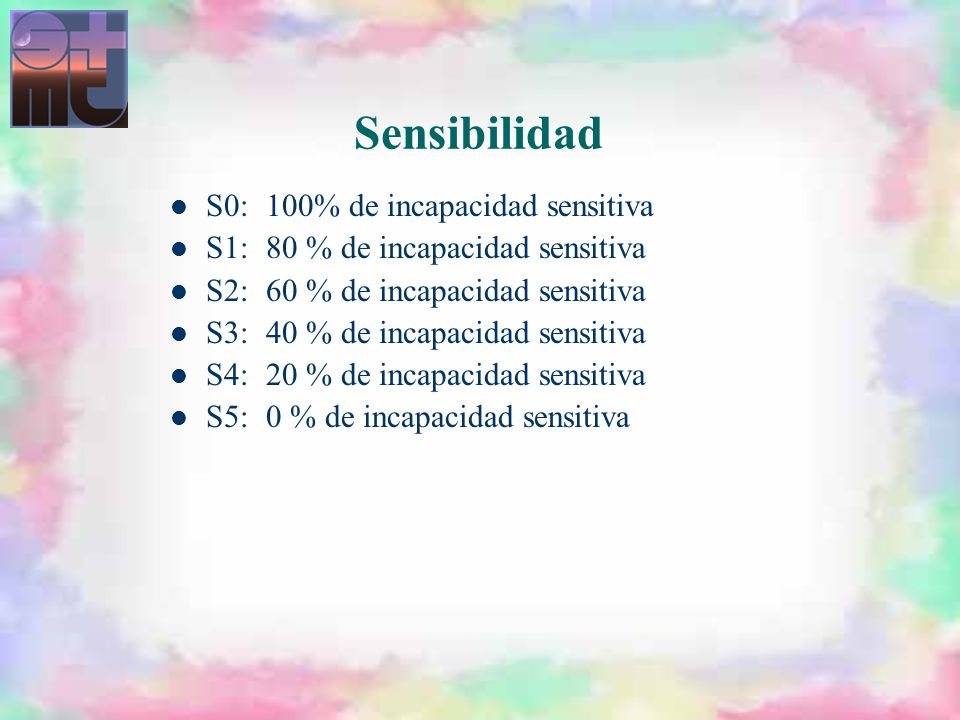 Sensibilidad S0: 100% de incapacidad sensitiva