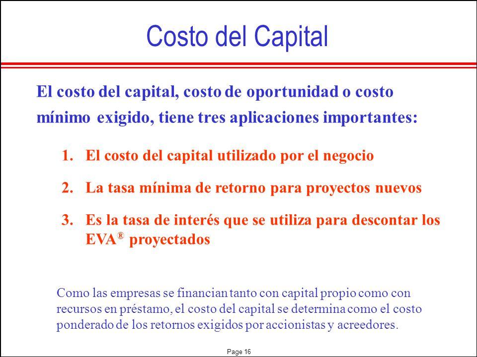 Costo del Capital El costo del capital, costo de oportunidad o costo mínimo exigido, tiene tres aplicaciones importantes: