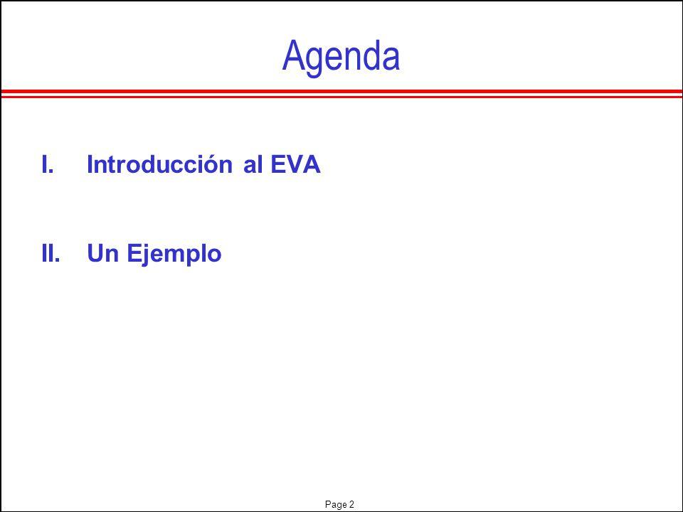 Agenda Introducción al EVA Un Ejemplo