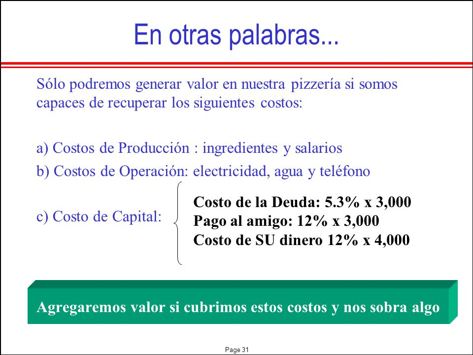 En otras palabras... Sólo podremos generar valor en nuestra pizzería si somos capaces de recuperar los siguientes costos: