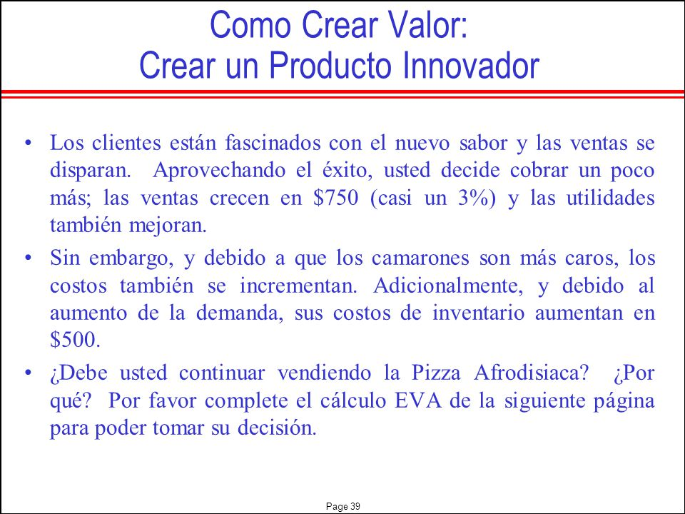 Como Crear Valor: Crear un Producto Innovador