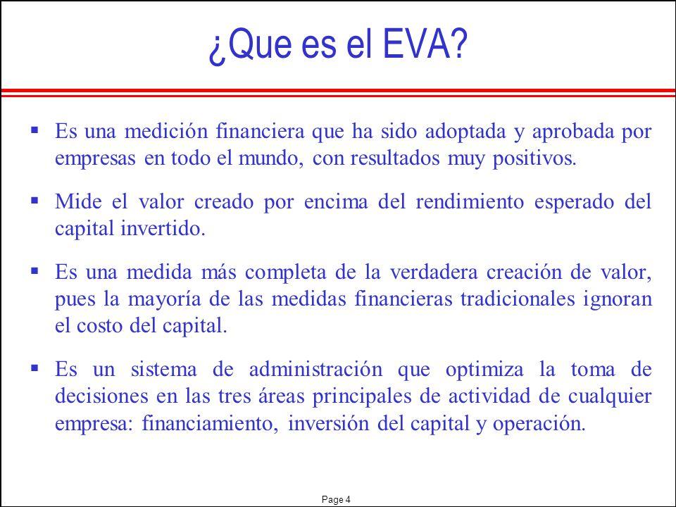 ¿Que es el EVA Es una medición financiera que ha sido adoptada y aprobada por empresas en todo el mundo, con resultados muy positivos.