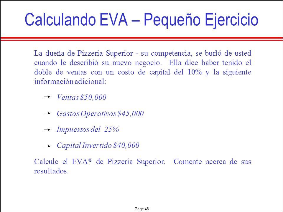 Calculando EVA – Pequeño Ejercicio