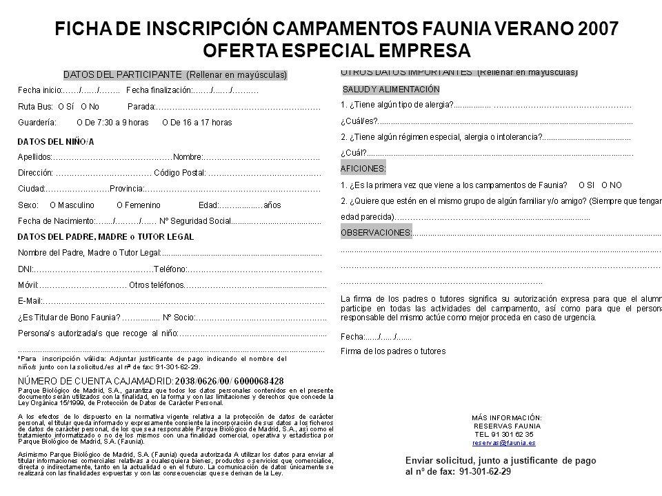 FICHA DE INSCRIPCIÓN CAMPAMENTOS FAUNIA VERANO 2007