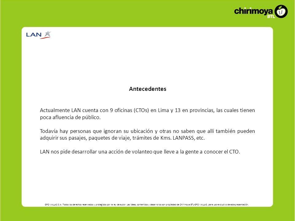 Antecedentes Actualmente LAN cuenta con 9 oficinas (CTOs) en Lima y 13 en provincias, las cuales tienen poca afluencia de público.