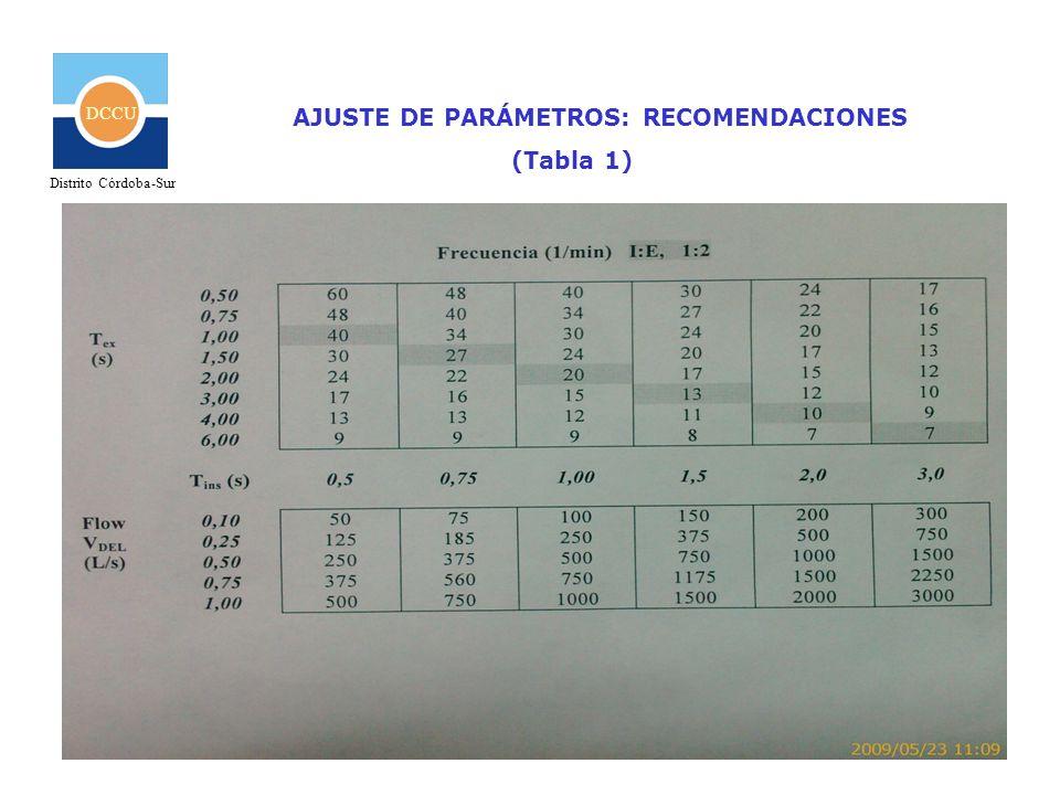 AJUSTE DE PARÁMETROS: RECOMENDACIONES (Tabla 1)