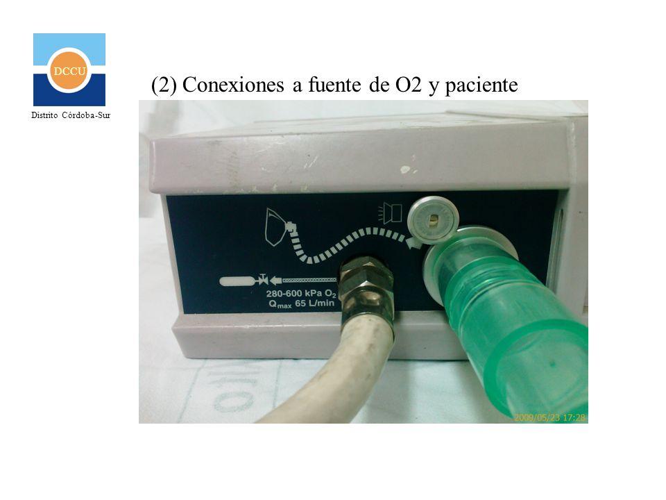 (2) Conexiones a fuente de O2 y paciente