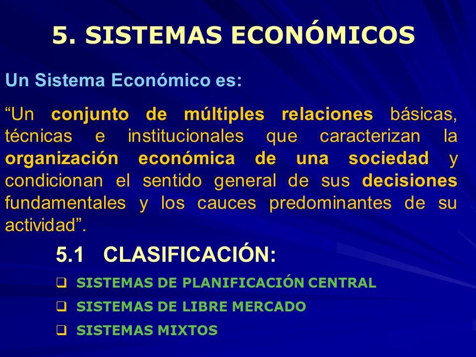 5. SISTEMAS ECONÓMICOS 5.1 CLASIFICACIÓN: Un Sistema Económico es: