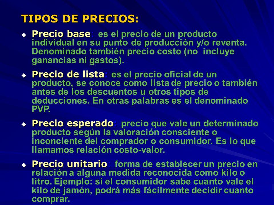 TIPOS DE PRECIOS: