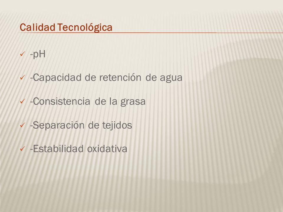 Calidad Tecnológica -pH. -Capacidad de retención de agua. -Consistencia de la grasa. -Separación de tejidos.