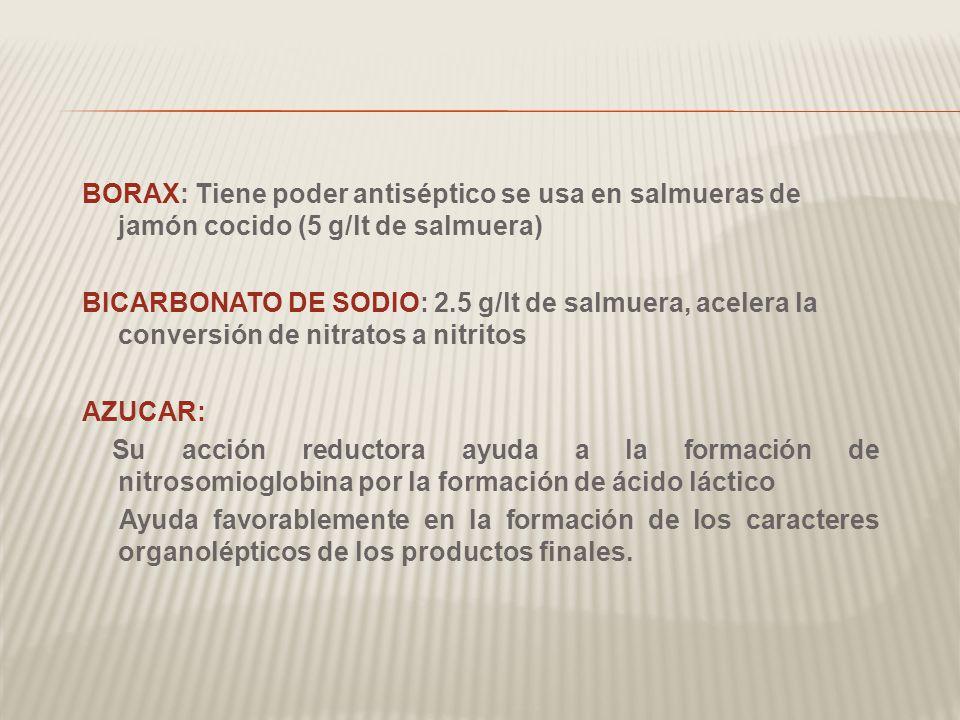 BORAX: Tiene poder antiséptico se usa en salmueras de jamón cocido (5 g/lt de salmuera) BICARBONATO DE SODIO: 2.5 g/lt de salmuera, acelera la conversión de nitratos a nitritos AZUCAR: Su acción reductora ayuda a la formación de nitrosomioglobina por la formación de ácido láctico Ayuda favorablemente en la formación de los caracteres organolépticos de los productos finales.